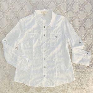 MK | White Sheer Pattern Button Up Shirt | 12